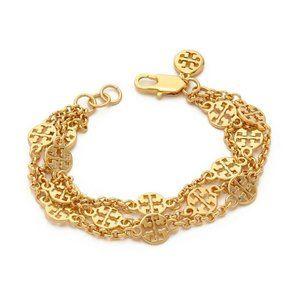 NEW Tory Burch Gold Logo Statement Bracelet